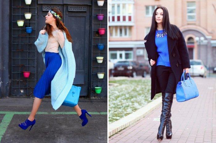 Модная голубая сумка
