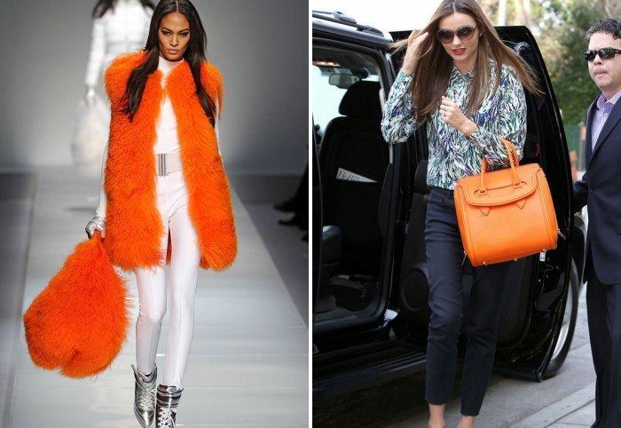 Оранжевая сумка с брюками
