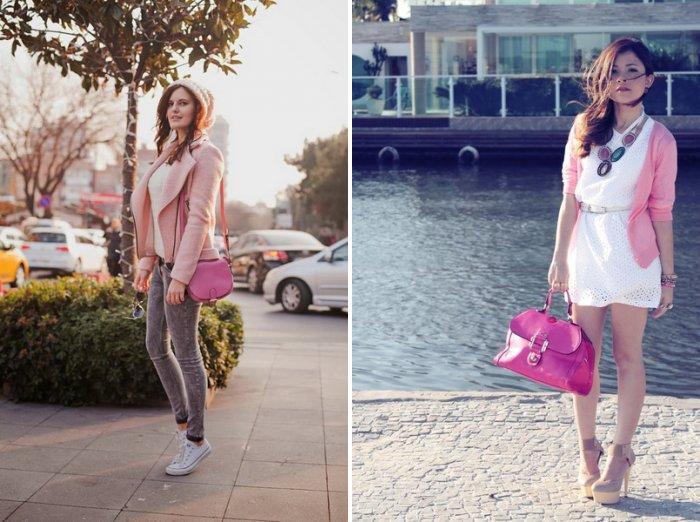 Розовая сумка со светлой одеждой