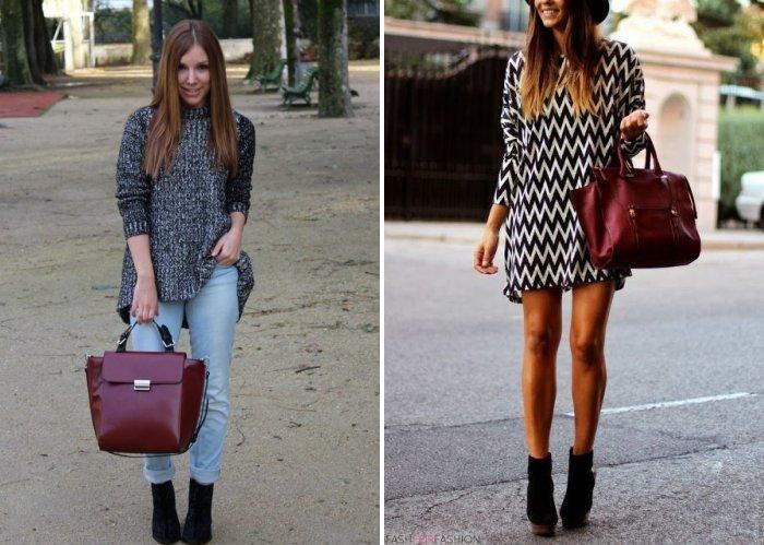 Модная бордовая сумка