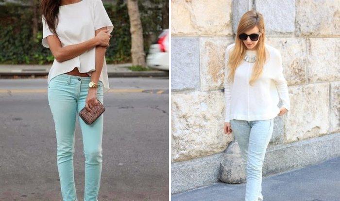 Голубые брюки с нежным мятным оттенком