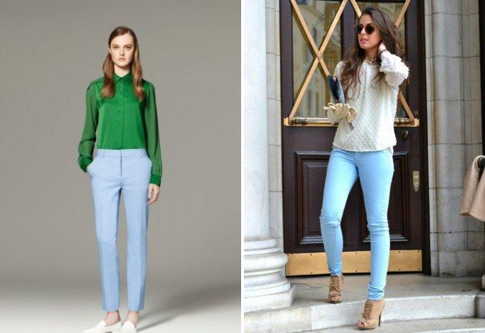 Голубые брюки с однотонной блузой