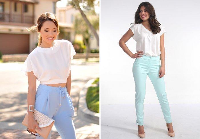 Голубые брюки с белой легкой блузой