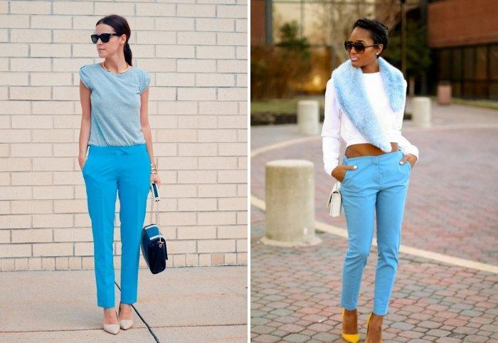 С чем носить голубые брюки?