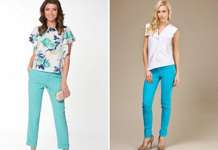 Светло-голубые летние брюки