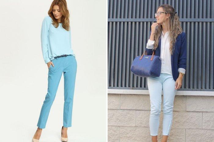 Нежно-голубые укороченные брюки