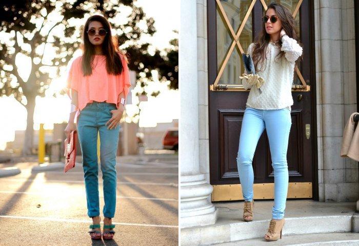 Голубые брюки с босоножками на высоком каблуке