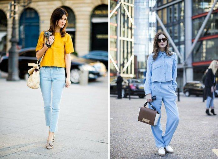 Голубые брюки с туфлями на низком каблуке