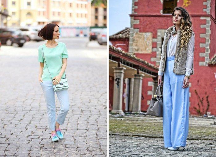 Стильный образ с голубыми брюками