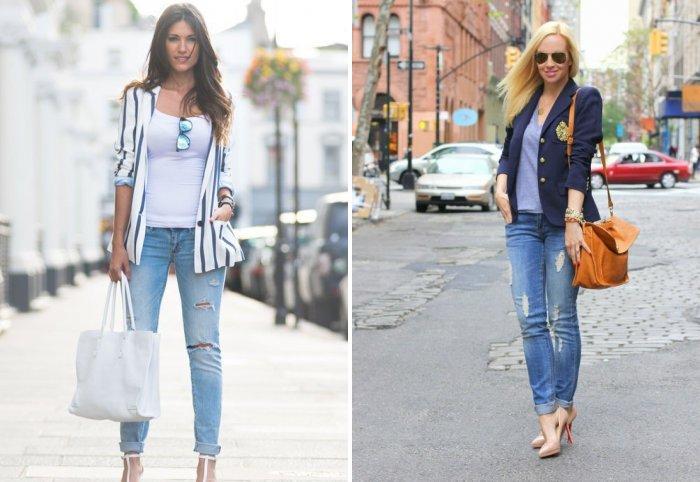 Голубые джинсы с босоножками на каблуке