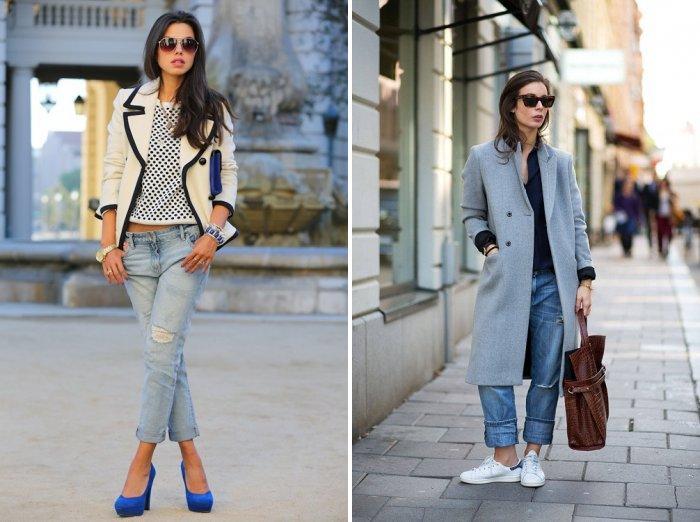 Голубые джинсы в сочетании с пальто