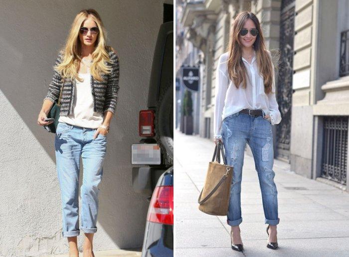 Голубые джинсы с белой блузой