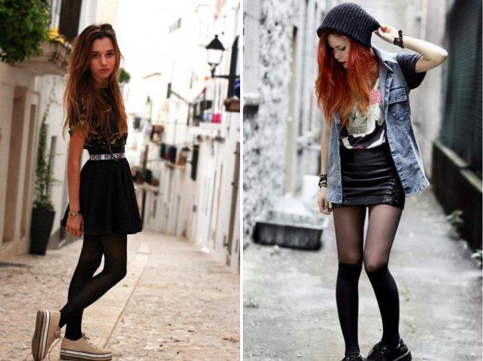 Кеды на платформе и стильная черная юбка