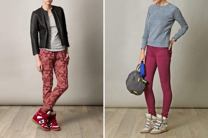 Кеды на платформе и яркие брюки-дудочки