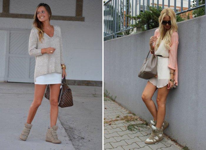 Кроссовки на платформе в сочетании с легким платьем
