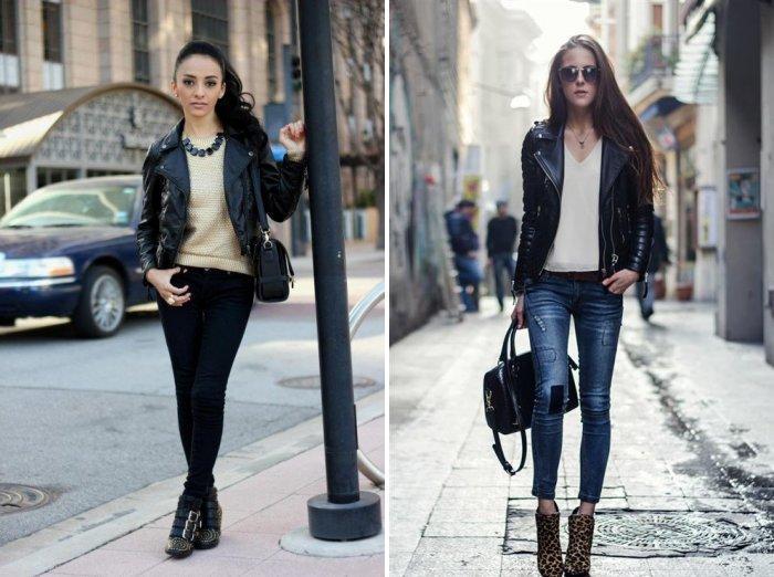Кожаная куртка с джинсами