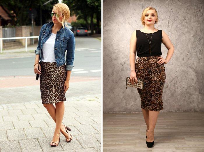 Леопардовая юбка карандаш: деловой стиль