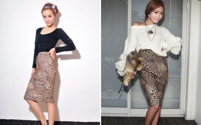 Леопардовая юбка карандаш с легким свитером