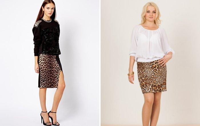 Леопардовая юбка карандаш: романтический образ