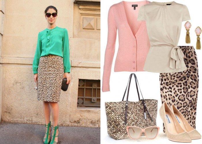 Модная леопардовая юбка карандаш