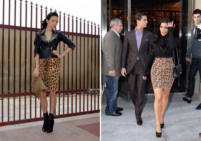 Леопардовая юбка с черным верхом