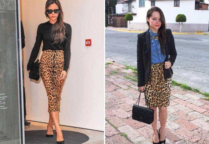 Леопардовая юбка с черными туфлями