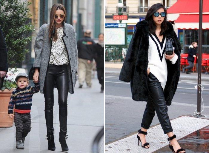 Теплые кожаные брюки