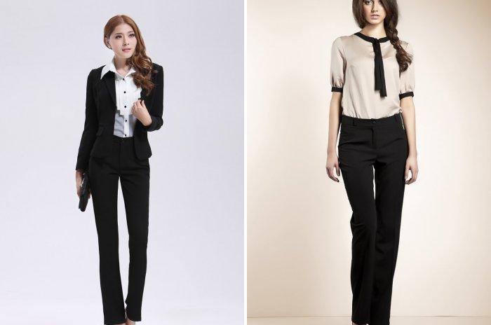 Классические брюки со строгой блузкой и пиджаком