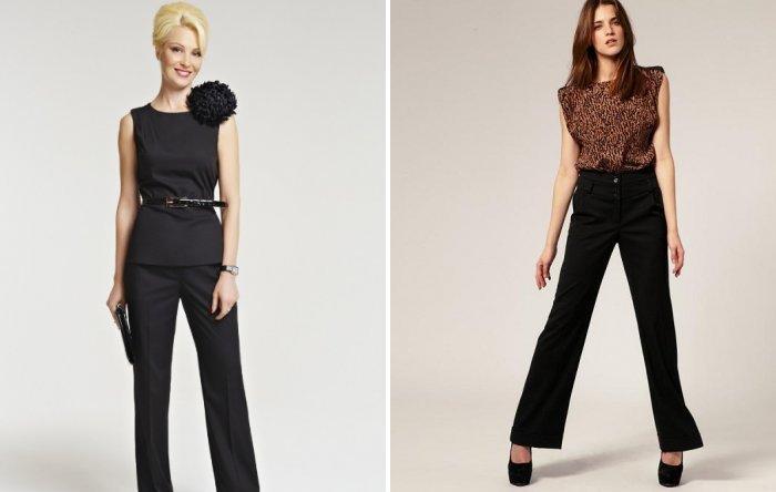 Классические черные брюки и нарядный верх