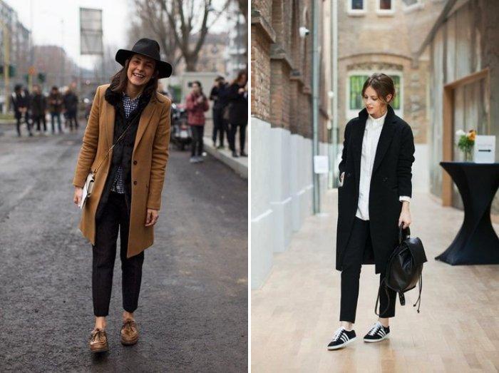 Классические брюки с обувью на низком ходу