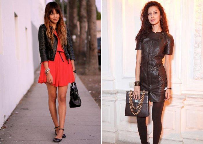Короткое платье в сочетании с обувью на низком ходу