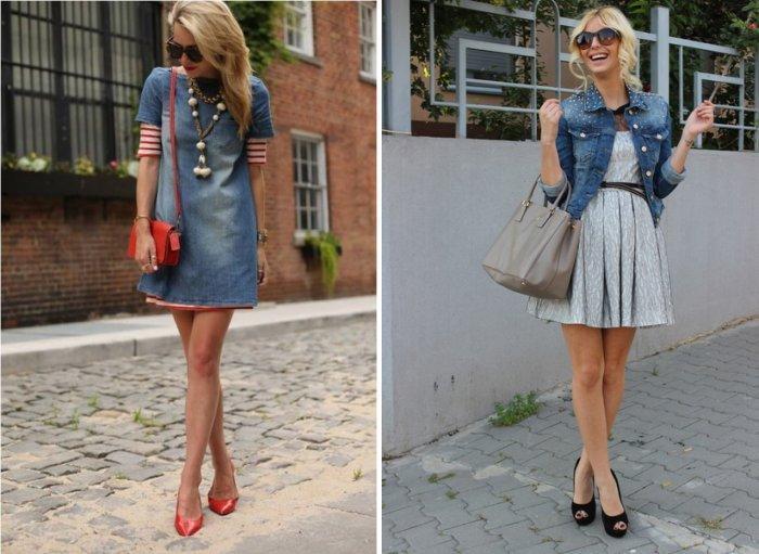 Короткое джинсовое платье