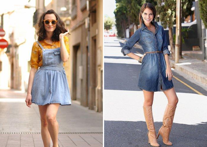 Стильное короткое джинсовое платье