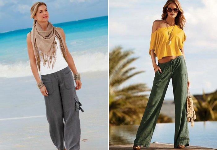 Аксессуары к широким брюкам: шейный платок и сумка с ракушками