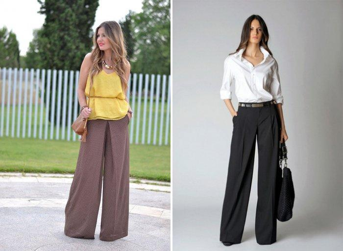 Модные широкие брюки