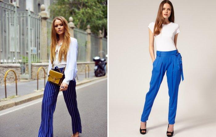 Синие брюки свободного покроя