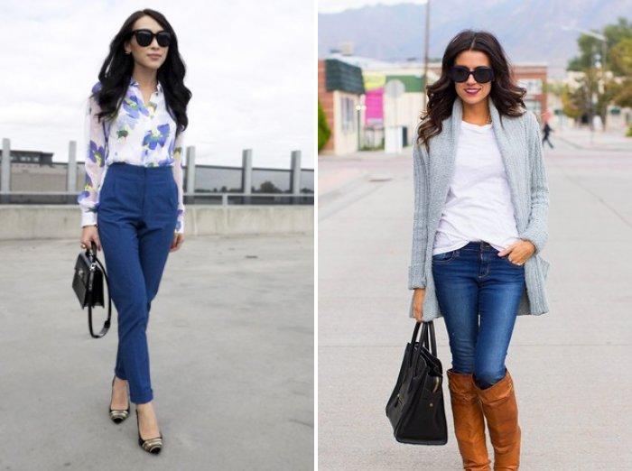 Синие брюки в сочетании с блузой в цветах