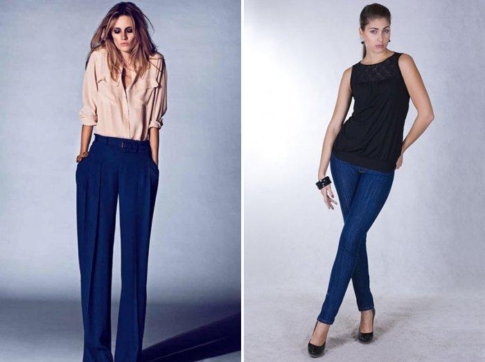 Синие брюки и однотонная блуза