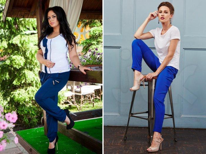 Синие брюки и туфли на шпильке