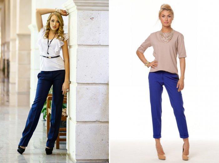 Синие классические брюки для офиса