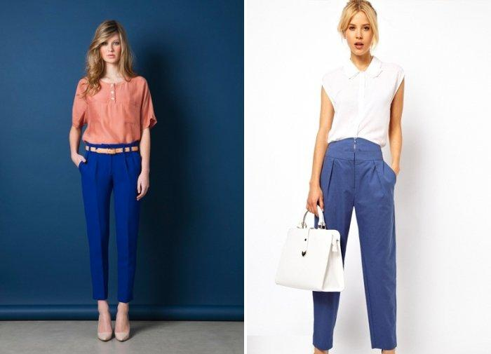 Синие зауженные брюки