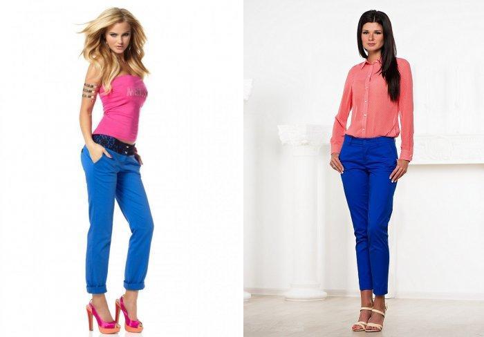 Стильные синие брюки с яркой блузой