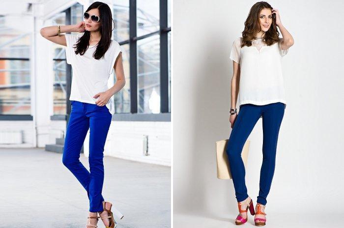 Модные синие брюки с белой блузой