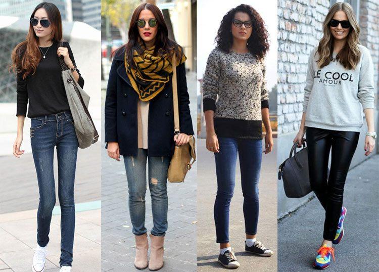Стиль кэжуал в сочетании в джинсами