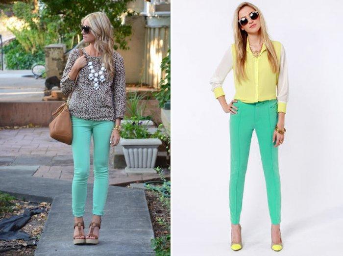 Зеленые брюки с салатовым оттенком