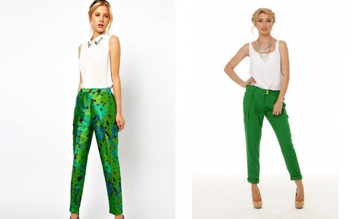 С чем носить зеленые брюки?