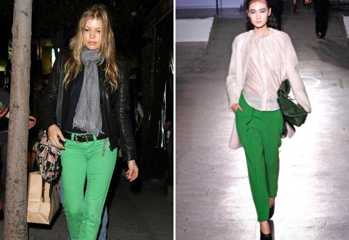 Зеленые брюки с приталенной курткой
