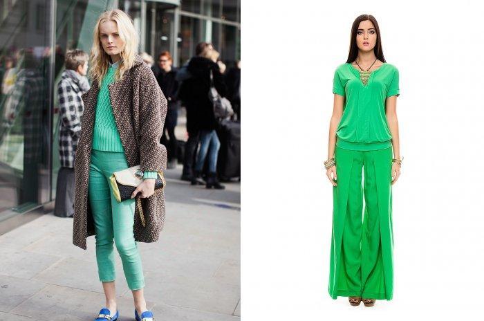 Зеленые брюки изумрудного оттенка