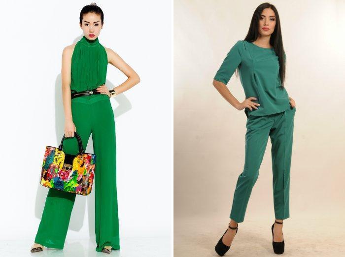 Романтический образ в сочетании с зелеными брюками