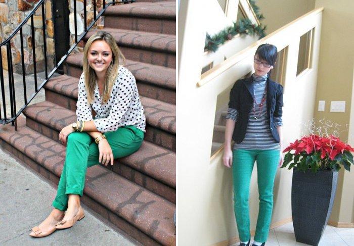 Зеленые брюки для прогулки и работы в офисе